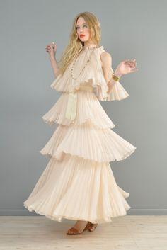 Jean Varon 1970s Tiered Chiffon Maxi Dress + Jacket   BUSTOWN MODERN