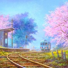 【hemp_atelier】さんのInstagramをピンしています。 《作品紹介 「春(絵)」 * * #藤岡真二郎 #oilpainting #art #landscape #spring #cherryblossom #風景 #風景画 #桜 #春 #駅 #鉄道 #ローカル線 #アトリエsf #shinjirofujioka #菜の花 #railway #railroad #station #駅舎 #春の風景 #心象風景 #線路 #枕木 #何気ない風景  #絵 #絵画 #油彩画》