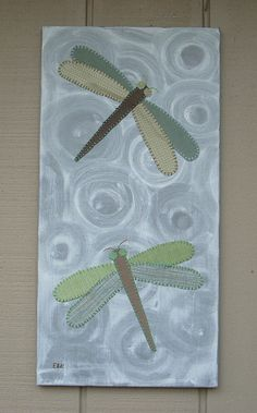 2 Dragonflies #1 Fabric Wall Art by CottonwoodCove on Etsy