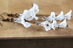 Snow White Bridal Earrings Large Frosted by KapKaJewelryDesign,