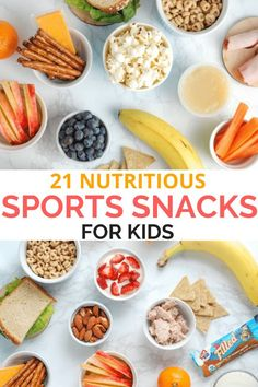 Kid athletes need good fuel between meals! Here are sports snacks ideas for kids, including snacks they can eat on the go. #realmomnutrition #sportssnacks #snacksforkids #kidfriendly #healthysnackideas