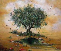 #olive_tree #painting Greek painter #art www.eshop-art.com Tree Paintings, Olive Tree, Olive Oil, Greek, Texture, Artist, Craft Ideas, Drawings, Paintings