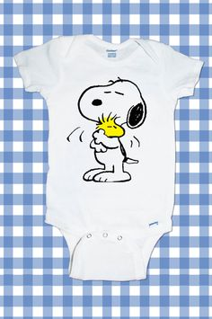 NEW Custom Snoopy Screen Printed Tshirt Peanuts One-Piece Newborn Custom T-Shirt Baby boy Bodysuit onesie Creeper Romper Snapsuit ALL SIZES