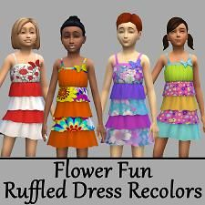 Flower Fun Ruffle Dress by NightlyEMP at Mod The Sims via Sims 4 Updates Sims 4 Cc Shoes, Best Sims, Harry Potter Outfits, Sims 4 Update, Toddler Headbands, Sims 4 Clothing, Dresses Kids Girl, Sweater Outfits, Ruffle Dress