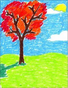 Fall Oil Pastel Tree