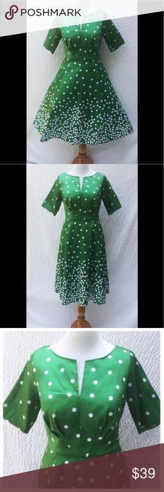 "New Eshakti Polka Dot Fit & Flare Dress XL 16 New Eshakti polka dot dupioni fit & flare dress XL 16 Measured flat: Underarm to underarm:39"" Waist:35"" Length:41 1/2"" Sleeve:12"" Eshakti size guide for XL 16 bust:41 1/2"" Split notch neck, angled pleat bodice, back hidden zipper. Seamed waist, flared skirt w/ side seam pockets. Lined in light polytaffeta. Polyester, woven dupioni, high sheen, light textured slubs, no stretch, midweight. Dry clean. New w/cut out Eshakti tags to prevent returning…"