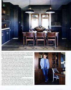 """""""DEALER'S CHOICE"""" Exquisite Surfaces' Gustav Gray flooring chosen by antiques dealer, Lee Stanton for his L.A. apartment. CC: ELLE DECOR"""