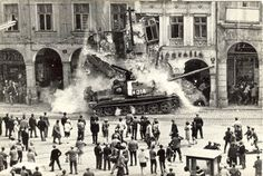 Some Random Historical Photographs - Some Random Historical Photographs - Soviet tank rams into a building - Warsaw Pact invasion in Czechoslovakia, 1968 World History, World War Ii, Prague Spring, T 62, Warsaw Pact, Marie Curie, Mahatma Gandhi, Historical Pictures, Czech Republic