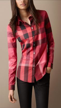 Burberry Brit red check cotton shirt 1