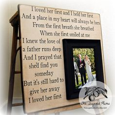 Personalized Wedding Gift Picture Frame 16x16 I LOVED HER FIRST Mother Father of the Bride Anniversary Gift  Wedding. $75.00, via Etsy.