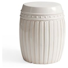 Pottery Barn Reeded Ceramic Accent Table ($156) ❤ liked on Polyvore featuring home, furniture, tables, accent tables, outdoor occasional tables, outside furniture, outdoor furniture, ceramic table and outdoor table