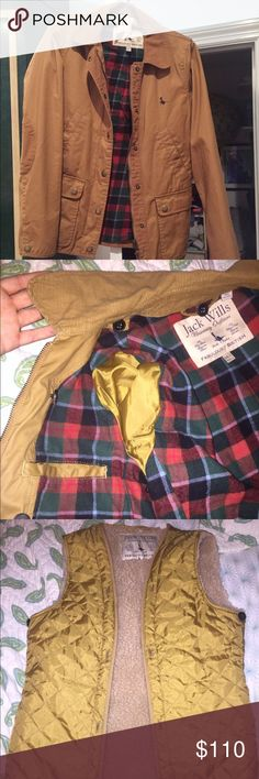 Jack Wills Kendall Wax Jacket Brand new Jack Wills waxed coat with cord collar and removable lining vest! Super high quality would last you forever. I've never worn it and it's too nice to go to waste. Says US size 6 but I think it's closer to a 2 or 4 Jack Wills Jackets & Coats