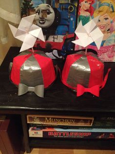 Tweedle dumb & tweedle dee hats and bow ties - made out of duct tape!