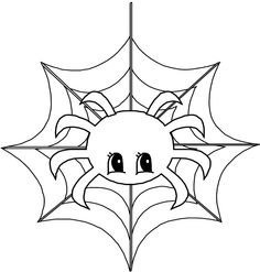 Scary Spider On A Web Coloring Page Cute Spider Pinterest