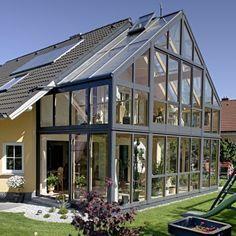 Greenhouse/ sunroom addition to house Greenhouse Attached To House, Home Greenhouse, Greenhouse Kitchen, Extension Veranda, Glass Extension, Future House, My House, House Extensions, Glass House
