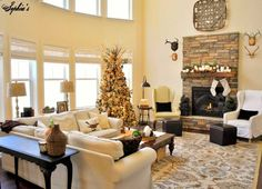 New Spirit With Rustic Christmas Decorating Ideas : Awesome White Living Room Design With Rustic Christmas Tree And White Sofas