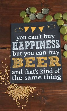 You Can't Buy Happiness But You Can Buy Beer yellow chalkboard print - instant download