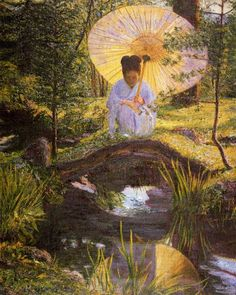 """~ """"Japanese Garden"""" by Lilla Cabot Perry American Impressionist Artist of Landscapes & Portraits . Claude Monet, Vintage Illustration, American Impressionism, Art Themes, Pics Art, American Artists, Asian Art, Icon Set, Great Artists"""