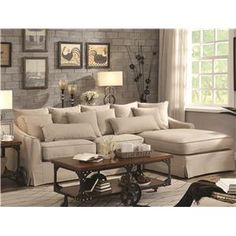 Knottley+Slipcovered+Sectional+Sofa+With+Chaise+and+Feather+Blend+Cushions