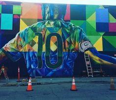 Painel em homenagem a Neymar em Los Angeles