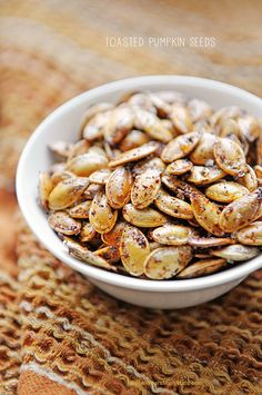Toasted Pumpkin Seeds, a delicious and health Fall snack! http://www.pinterest.com/KrisElizDesign/ke-for-the-love-of-food/   Healthy Eats