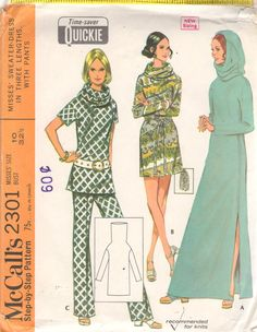 McCalls 2301 1970s Misses Sweater Dress Tunic and Pants Pattern Hooded Tunnel Neck Womens Vintage  Sewing Pattern Size 10 Bust  32 UNCUT