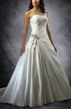 One Shoulder Pleated Bodice Waist Embellished Wedding Gown