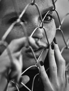 Girl, Fence, Face