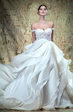 YSA Makino - Tip of the Shoulder Ball Gown in Beaded Embroidery