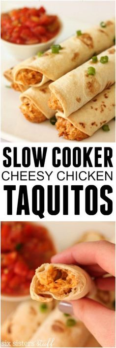 Slow Cooker Taquitos recipe from SixSistersStuff.com | This kid-friendly dinner is easy to make and the healthier homemade version (they're baked not fried!). Especially tasty when paired when a delicious dip!