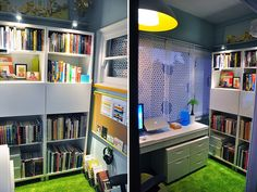 "Fun home office.  Love the ""grass"" carpet."