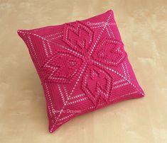 Tufted Dogwood Redux Pattern 14 Crochet Square Pillow