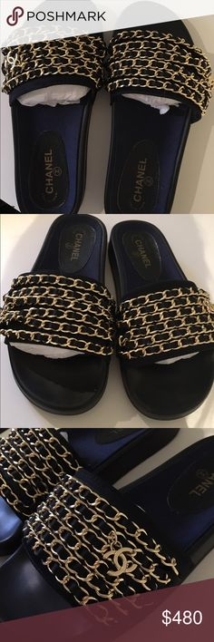 Chanel nylon chain slides black and gold Brand new never worn. Come with dustbag, box and receipt. Size 38 but they run SMALL CHANEL Shoes Sandals