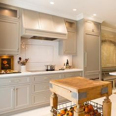 Gray Painted Kitchen Cabinets with Ann Sacks Subway Tiles - Transitional - Kitchen - Benjamin Moore River Reflections Kitchen Cabinets Knobs And Pulls, Best Kitchen Cabinets, Painting Kitchen Cabinets, Kitchen Paint, Kitchen Tiles, Kitchen Colors, New Kitchen, Bathroom Cabinetry, Gray Cabinets