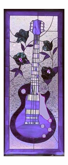 Purple stained glass - guitar and roses.