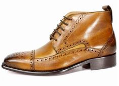 Handmade Men's Ankle High Leather Cap Toe Brogue Boots Men's Brown Chukka Lace Up Boots High Leather Boots, Leather Cap, Lace Up Ankle Boots, Soft Leather, Custom Made Shoes, Custom Design Shoes, Mens Brown Boots, Dress Shoes, Mens Fashion