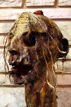 Paper mache zombie head.