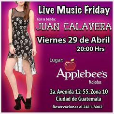 Este viernes 29/04 regresamos a tocar a @applebeesgt de Zona 10!!! Ven y sacude tus Huesos! #Livemusic