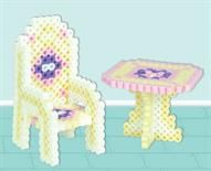 3-D Dollhouse Table and Chair  Designed By The Perler Design Team Dress up your dollhouse with our table and chair set made from Perler Beads! You can easily substitute your favorite colors to match your dollhouse if you want. A great mother/daughter project to share!