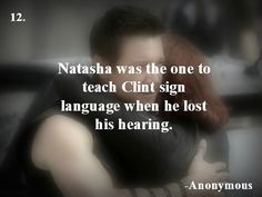 And this is how we understand that Natasha is crazy about Clint! <<< actually, she was the reason he lost his hearing so she probably feels guilty. Avengers Memes, Marvel Memes, Avengers Trailer, Bland Marvel Headcanon, Avengers Headcanon, Bucky, Marvel Avengers, Marvel Comics, Clintasha