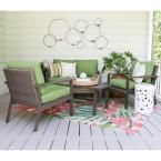 Leisure Made Preston 4-Piece Wicker Patio Conversation Set with Green Cushions