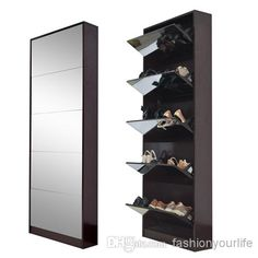 2020 Wood Mirrored Shoe Cabinet Shoe Rack With 5 Layers Shoes Storage Cabinet Living Room Furniture USA Warehouse From Fashionyourlife, Shoe Cabinet Design, Shoe Storage Design, Wood Shoe Storage, Closet Shoe Storage, Shoe Storage Cabinet, Rack Design, Home Decor Furniture, Furniture Making, Living Room Furniture