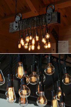Wood Plank Pulley Farmhouse Chandelier iD Lights Farmhouse Chandelier Lighting, Chandelier Design, Modern Farmhouse Lighting, Wood Chandelier, Wood Lamps, Rustic Lighting, Industrial Farmhouse, Lighting Ideas, Outdoor Chandelier