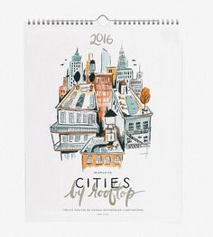 2016 Cities By Rooftop Wall Calendar by Idlewild Co. on Scoutmob