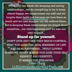 We spend our whole life keeping and saving relationships… we do everything to try to keep others happy, we compromise our-self and we forgive their faults just because we love them so much and we cant imagine our life without them… But in keeping these relationships we forget about ourselves… our own happiness and …