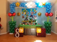 Super Mario Birthday, Mario Birthday Party, Super Mario Party, 6th Birthday Parties, Super Mario Bros, Birthday Party Decorations, Birthday Ideas, Mario And Luigi, Mario Kart