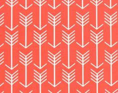 Coral Red & Turquoise Scallop Fabric by the Yard Designer