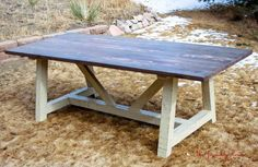 Love this farmhouse table! It would be too bulky for my dining nook, but perfect for the patio!