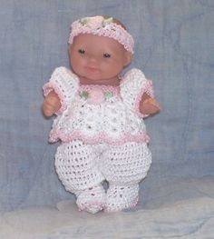 """Hand crocheted outfit for 5"""" Berenguer or Lots to Love baby dolls"""