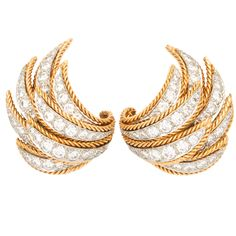 Van Cleef & Arpels VCA Yellow Gold Diamond Wings Earrings. Circa 1950s
